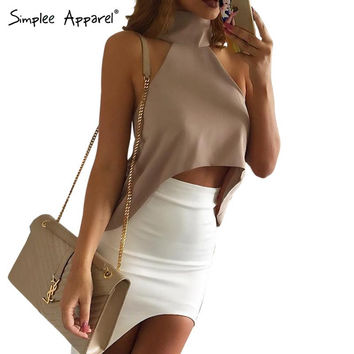 Simplee Apparel Summer style high neck halter women tank top Sexy off shoulder party crop tops Grils casaul white chiffon blouse