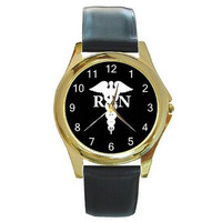 RN Nurse Caduseus on a Gold Tone Watch with Leather Band
