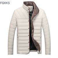 Trendy FGKKS Brand Casual Men Jacket Winter Warm Men's Solid color Cotton Blend Mens Jacket Coats Casual Zipper Thick Outwear AT_94_13
