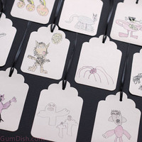 Halloween Hang Tags Gift Tags My Childs Drawings 3x5 Set of 10 Colored Pencil Large