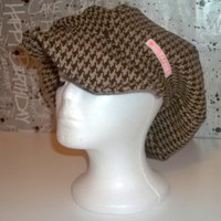 Brown Houndstooth Winter Newsboy Hat with Full Lining and Hem Ribbon // Casket Hat // Brown Hat // Wool Blend // Winter Hat