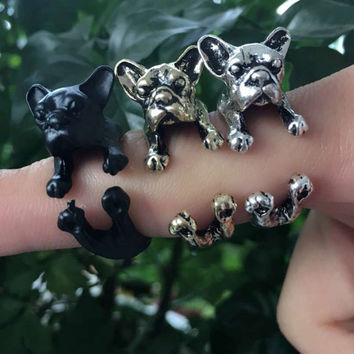 1 Piece Pet Dog Opening Ring Bulldog Ringment Ring 3 Colors Fine Jewelry