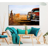 Old Rustic Classic Car Large Wall Art Canvas Print