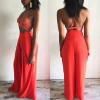 Orange Lace Crop Top and Pants Set