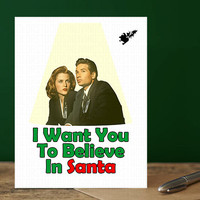 X-Files Card - Mulder and Scully Christmas Card (Funny Holiday Cards. New Year Greeting Cards. Christmas Gift. Xmas Cards. Cute humor Cards)