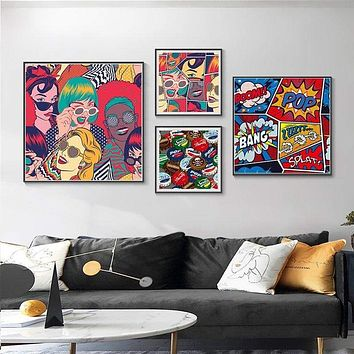 Pop Culture Comic Book Wall Art Canvas Painting - No Frame