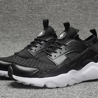 Best Online Sale Nike Air Huarache 4 Run Rainbow Ultra Breathe Women Men Black White Running Sport Casual Shoes Sneakers - 926