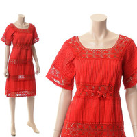Vintage 70s Red Pintuck Crochet Dress 1970s Mexican Cotton Cut Out Lace Hippie Festival Boho Fiesta Midi Dress
