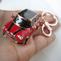 rose gold,mini car keychain,Chili Red car,black car roof and stripes,plus grade crystal,luxury ,exclusive gifts, for you or your loved one.