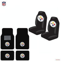 Licensed Official New NFL Pittsburgh Steelers Car Truck  Seat Covers & Carpet Floor Mats Set