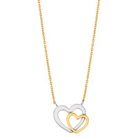 14K Two Tone White And Yellow Gold Double Heart Pendant On 18 Inch Necklace