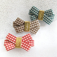 Dog Bows Hair Tie Luxury Check Bow  Made in USA by Anypet Alpha Dog