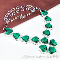 925 silver fashionable necklace GREEN jewelry for wedding N0520