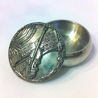 Vintage Brooch Pin Pewter Brooch Pewter Pin Round Brooch Pin Round Trinket Box Jewelry Box Ring Box Violin Brooch Violin Pin Music Brooch