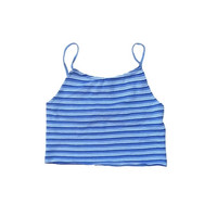 ON SALE 90s White and Blue Striped Crop Top //  Size Med / Large