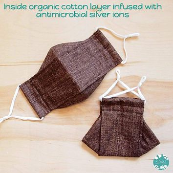 Antimicrobial 3D Face Mask + Adjustable Loops ~ Brown Chambray
