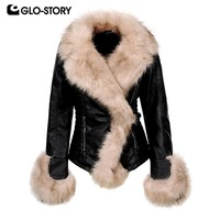 GLO-STORY Women 2018 Wool Lined Warm Leather Jackets Woman High Street Fashion Fitness Winter Coats with Fur Decoration WPY-6527