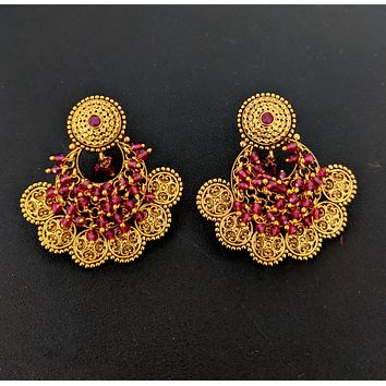 Traditional Antique gold Chandbali Earring with shiny crystal bead