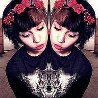 red roses and spikes headband by LovelyScum on Etsy