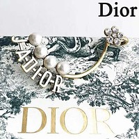 DIOR Newest Fashion Women Delicate Letter Pearl Diamond Earring Ear Clip Accessories Jewelry