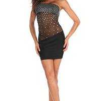 Little Black Sheer Mini Dress With Rhinestones