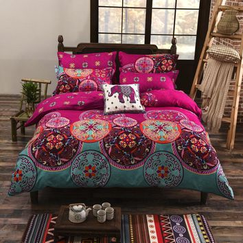 Bohemian 4/3Pcs 3D Bedding Sets Boho Mandala Duvet Cover Set Polyester Folk-Custom Twin/Full/Queen/King Bedsheet & Duvet Cover
