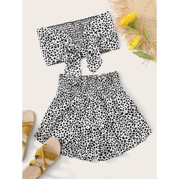 Dalmatian Tie Front Shirred Bandeau With Shorts
