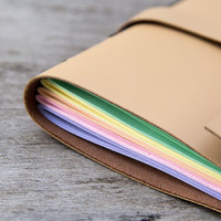 leather journal, travel journal, travel notebook, diary sketchbook, graduation camel leather notebook, blank book, hand bound rainbow pages