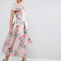 ASOS SALON Floating Bardot Jacquard Midi Prom Dress at asos.com