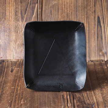 Personalized Leather Valet Tray #Black