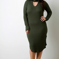 Rib Knit Mock Neck Keyhole Long Sleeve Dress
