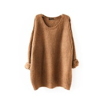 2017 New Fashion Women Loose Long Sweater Casual Round Neck Warm Pullovers Sweater Long Sleeve Knitting Pull Femme Hiver