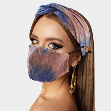 Tie Dye Blue & Brown Cotton Fashion Protective Mask & Matching Headband