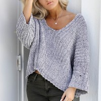Soft Side Gray Blue Chenille Pullover Sweater