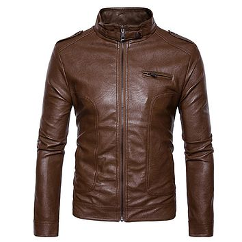 Men's Stand Collar Epaulet Faux Leather Zip Up Jacket