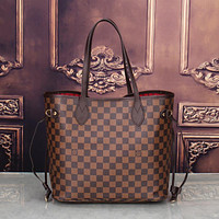 LV Louis Vuitton classic women's exquisite fashion high quality two-piece F Coffee Tartan