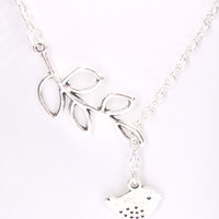 Silver High Polish Bird And Leaf Accent Slim Chain Link Necklace