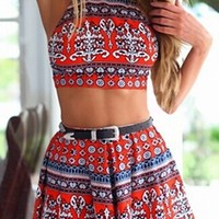 Red White Blue Floral Geometric Sleeveless Scoop Neck X Back Crop Halter Tank Shorts Two Piece Romper