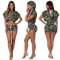 Bat-wing Sleeves Crop Top Mini Shorts Camouflage Two Pieces Set