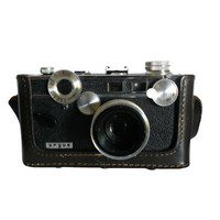 "Vintage Camera 1960s Argus C3 Standard - ""The Brick"" 50mm Coated Cintar Lens with Original Cowhide Case and Strap - Made in USA"
