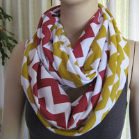 2 pack lot Red and Gold Chevron Infinity Scarves - school or team colors - 49ers Chiefs Redskins - ChevronScarf