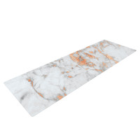 "KESS Original ""Rose Gold Flake"" White Pink Yoga Mat"