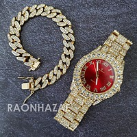Raonhazae Hi Hop Iced Lab Diamond Meek Mill Drake Red Face 14K Gold Plated Watch with 12mm Cuban Link Bracelet Set