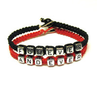Bracelets for Couples, Forever and Ever, Black and Red Macrame Hemp Jewelry - Free North American Shipping