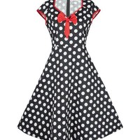 Cap Sleeve Dress Polka Dot Print Vintage 60S 50S Rockability Swing Retro 50'S Red Front Bow Dress Retro High Waist High Quality