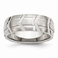 Men's Stainless Steel Grooved Brushed & Polished Wedding Band Ring: RingSize: 8
