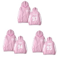 ALLKPOPER Kpop BTS In Bloom Pink Hooded Hoodie Sweatershirt Unisex Pink Hoodies Hot Korean Fans Tracksuit Rap Monster JIMIN