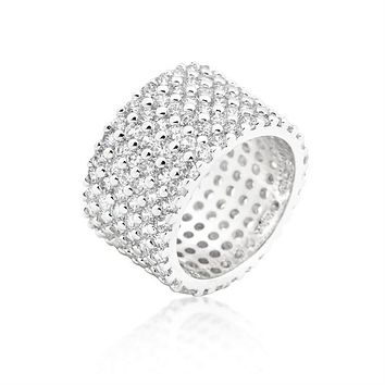 Tina Wide Paved CZ Eternity Band Ring | 22ct