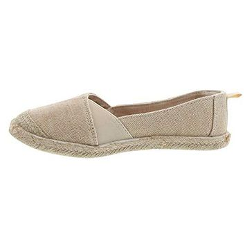 Sugar Womens Evermore Comfortable Slip on Espadrille, Natual Metallic, Size 7.5
