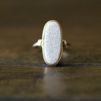 Long Oval Druzy Ring - Confetti Cream